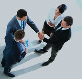 Top view of a successful business leaders finalizing a deal at office. Top view of a successful business leaders finalizing a deal at office Royalty Free Stock Photography