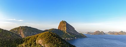 Top view of the Sugar Loaf hill, Guanabara bay, sea and hills Stock Photo