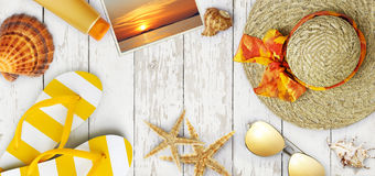 Top view of summer beach accessories on wooden white background, Stock Image