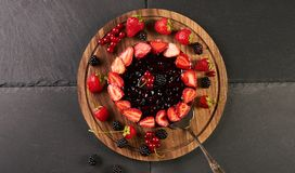 Top view of a summer berry cake Royalty Free Stock Photography