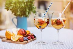 Top view of summer dinks, fruit cocktails on white wood table wi royalty free stock photos