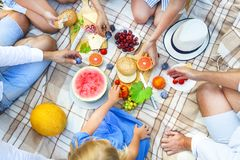 Top view summer garden picnic. Summer party Stock Images