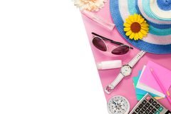 Top view of Summer holiday background,Beach accessories on white Royalty Free Stock Photo