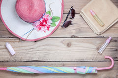 Top view of Summer holiday background,Beach accessories on white Stock Photos