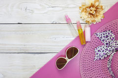 Top view of Summer holiday background,Beach accessories on white Stock Images