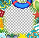 Summer vacation beach accessories and palm leaves on transparent background. Top view of summer holidays border frame template with copy space. Vacation stock illustration