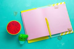 Summer mock up , open notepad with blank pink paper sheets,yellow pen and squishy anti stress toy watermelon and cactus. Top view  summer mock up , open notepad stock image