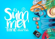 Top View Summer Time Realistic Vector Banner in Blue Background and Tropical Elements Like Scuba Diving Equipment. Surf Board, Slippers, Digital Camera, Mobile vector illustration