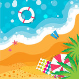 Top view Summer vacation. Beach rest. Time to travel. Sea, waves, sand and umbrella, palm. Vector design background and objects illustrations vector illustration