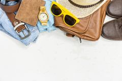 Top view summer vintage clothes. For men fashion lifestyle royalty free stock images