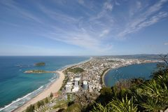 Top view of summit track of Mount Maunganui Stock Photos