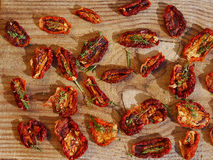 Top view of sun dried tomatoes Royalty Free Stock Image