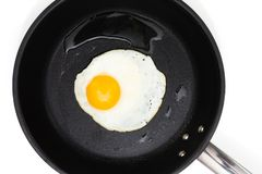 Fried egg in a pan. Top view of a sunny side up fried egg on a black pan isolated on a white background stock photos