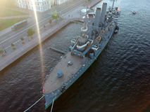 Aerial Top view of sunset Aurora cruiser on the Neva river in Saint Petersburg Stock Images