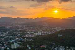 Top view sunset time at Khao to Sae public park viewpoint Stock Image