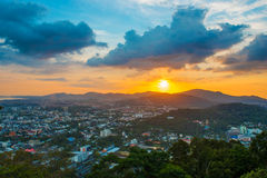 Top view sunset time at Khao to Sae public park viewpoint Royalty Free Stock Photos