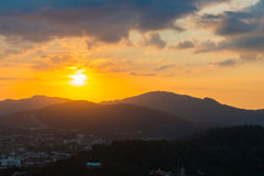 Top view sunset time at Khao to Sae public park viewpoint Royalty Free Stock Images
