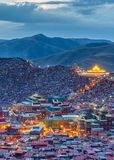 Top view sunset time at Larung gar Buddhist Academy in Sichuan. China Royalty Free Stock Images