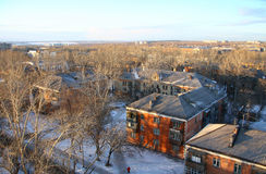The top view on surburb of city of Chelyabinsk. Southern Urals Mountains, Russia Stock Image