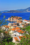 Top view of Sveti Stefan island and villages of riviera Royalty Free Stock Images