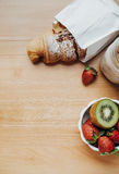 Top view of sweet breakfast with Coffee, croissant, strawberry, Stock Images