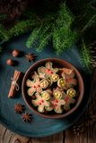Top view of sweet cookies in brown bowl for Christmas royalty free stock images