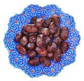Top view of sweet dates on iranian plate Stock Image