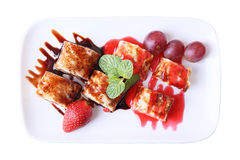 Top view of sweet fruit roll Royalty Free Stock Photos