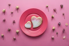 St valentines day flat lay with glazed heart shaped cookies Royalty Free Stock Images