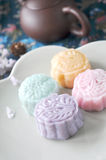 Top View of Sweet Mooncake Stock Photo