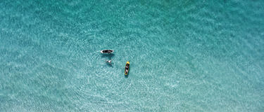 Top view  swiming peoples on a sunny day. Stock Image