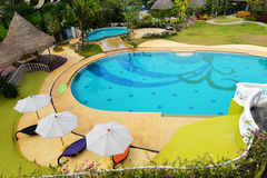 Top view Swimming pool resorts Stock Images