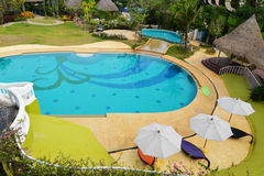 Top view Swimming pool resorts Stock Photos
