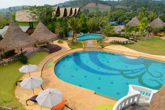 Top view Swimming pool resorts Stock Photo