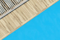 Top view of a swimming pool with wood Stock Photos