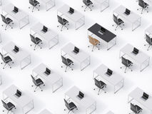 A top view of the symmetric corporate workplaces on white floor. A concept of corporate life.  Stock Image