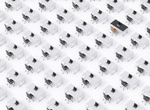 A top view of the symmetric corporate workplaces on white floor. A concept of corporate life. Black leather chairs, white tables a Stock Images