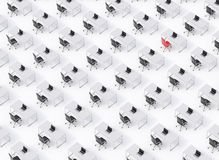 A top view of the symmetric corporate workplaces on white floor. A concept of corporate life. Black leather chairs, white tables a. Nd modern laptops. One chair Royalty Free Stock Photos
