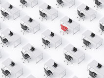 A top view of the symmetric corporate workplaces on white floor. A concept of corporate life. Black leather chairs, white tables a Royalty Free Stock Photography