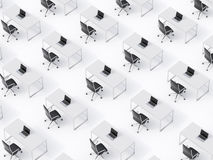 A top view of the symmetric corporate workplaces on white floor. A concept of corporate life in a huge transnational company. Blac Royalty Free Stock Images