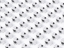 A top view of the symmetric corporate workplaces on white floor. A concept of corporate life in a huge transnational company.. Black leather chairs, white Royalty Free Stock Photo
