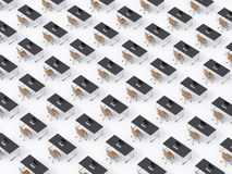 A top view of the symmetric corporate workplaces on white floor. A concept of corporate life in a huge transnational company.  Stock Images