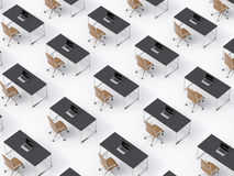 A top view of the symmetric corporate workplaces on white floor. A concept of corporate life in a huge transnational company. Stock Photo
