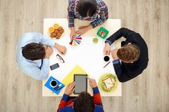 Top view table with creative people Royalty Free Stock Image