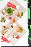 Top view of a table filled with vietnamese food royalty free stock photography
