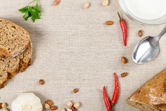 Top View Of Table With Food Ingredients And Copy Space Royalty Free Stock Photos