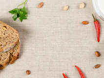 Top View Of Table With Food Ingredients And Copy Space Stock Photo