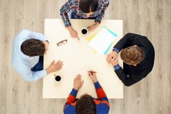 Top view table with group of creative people Royalty Free Stock Images
