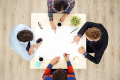 Top view table with group of working people Stock Image