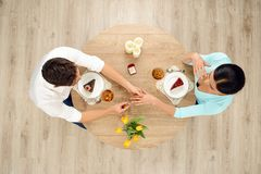 Top view of table and marriage proposal Royalty Free Stock Images